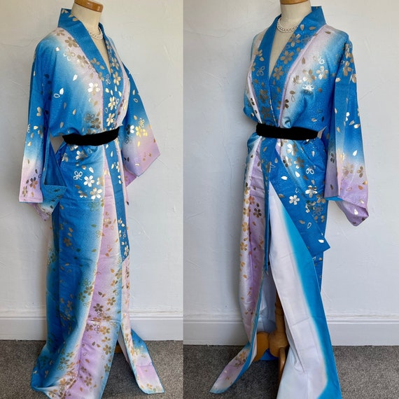 Vintage Robe Kimono Blue Rayon Silk Lingerie Gold