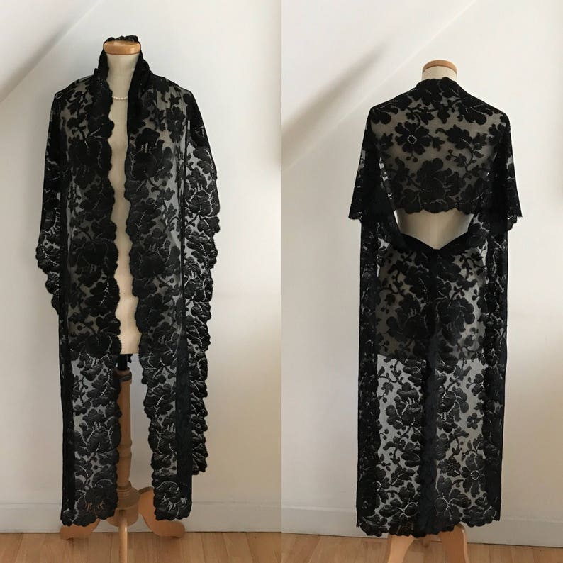 7e4ec688 Antique 1800s Wrap Black Silk Veil Mantilla Mourning Stole | Etsy