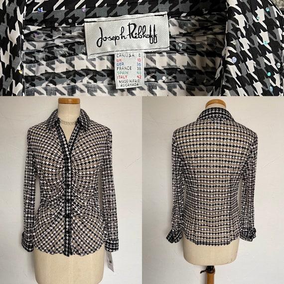 Vintage Peplum Jacket Blouse with Diamanté Detaili