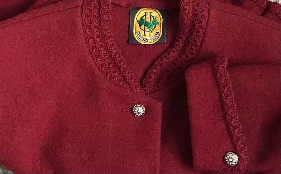 Vintage 1950s Tirol Jacket Silver Schilling Buttons Traditional 50s Austrian Bavarian Alpine Dirndl UK 16