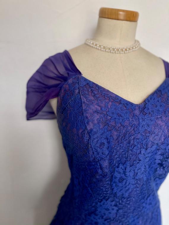 Vintage 40s Evening Gown Cocktail Dress Blue Silk… - image 7