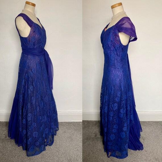Vintage 40s Evening Gown Cocktail Dress Blue Silk… - image 8