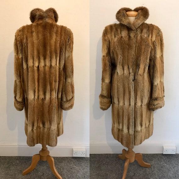 Vintage 1940s Duster Coat Musquash Padded Shoulder