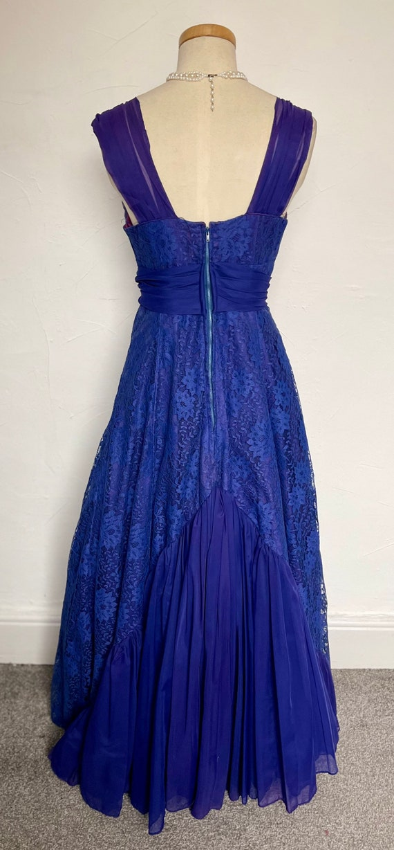 Vintage 40s Evening Gown Cocktail Dress Blue Silk… - image 6