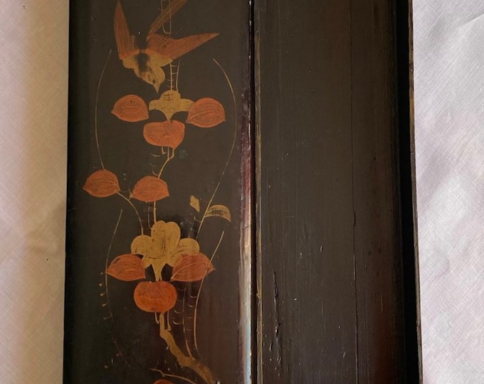 Vintage 1920s Chinoiserie Glove Box Birds Blossom Lacquered Hand Painted Art Deco