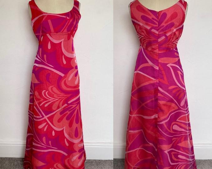Vintage 1960s Silk Cocktail Gown Evening Dress Iridescent Vivid Psychedelic Exquisite Hostess Unworn