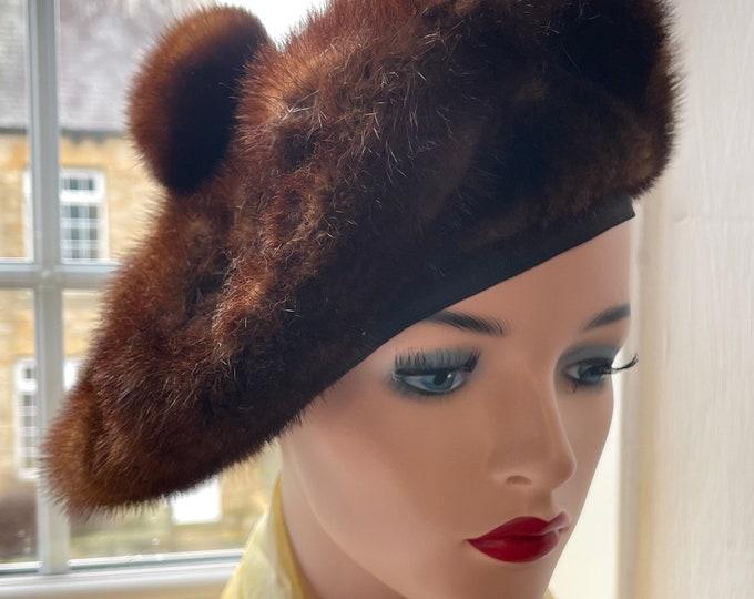 Vintage 1950s Saucer Hat Walmar Mink Creation Stunning Unworn 50s Pinup