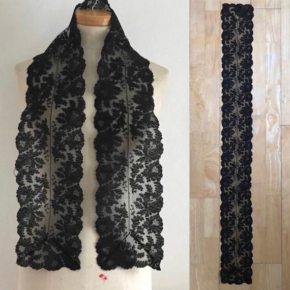Gothic Black Lace Shawl Collar FEMME FATALE Cocktail Dress 8 10 Vintage Retro