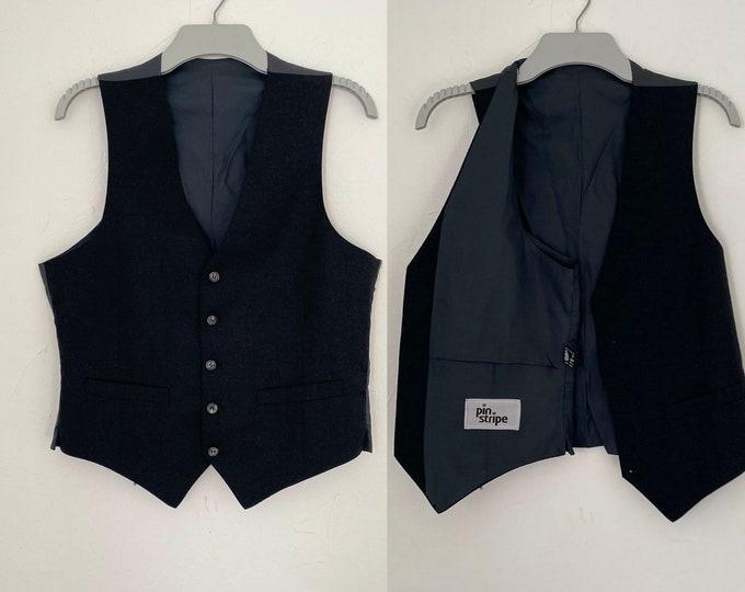 "Gentleman's Vest Waistcoat Vintage  1980s Midnight Blue Pure Wool & Rayon Silk 38"" Chest"