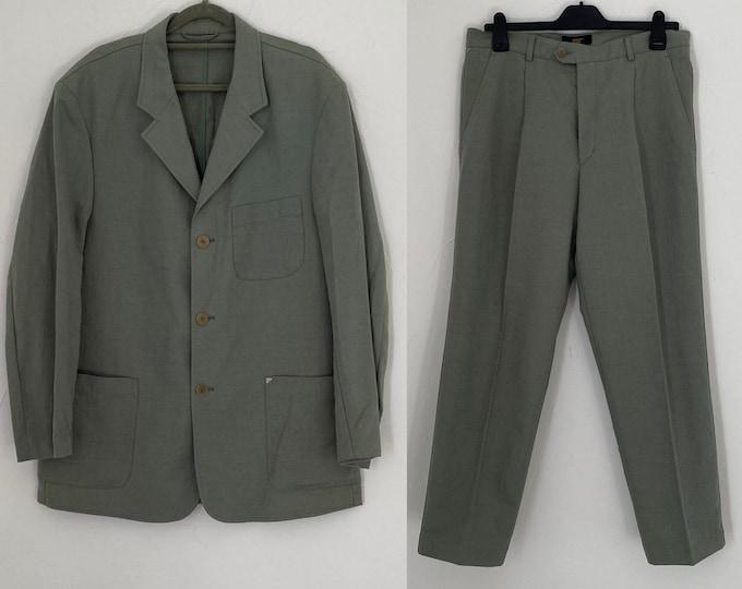 "Vintage 1980s Gents Suit olive Linen Single Breasted C42"" W34"" L33"""