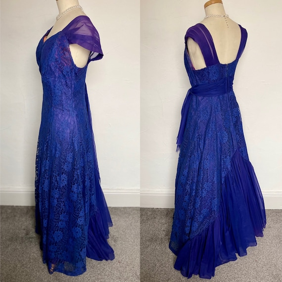 Vintage 40s Evening Gown Cocktail Dress Blue Silk