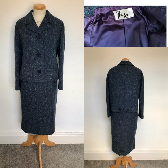 Stunning 1950s Suit English Wool Pencil Skirt 50s