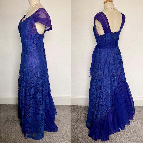 Vintage 40s Evening Gown Cocktail Dress Blue Silk… - image 1