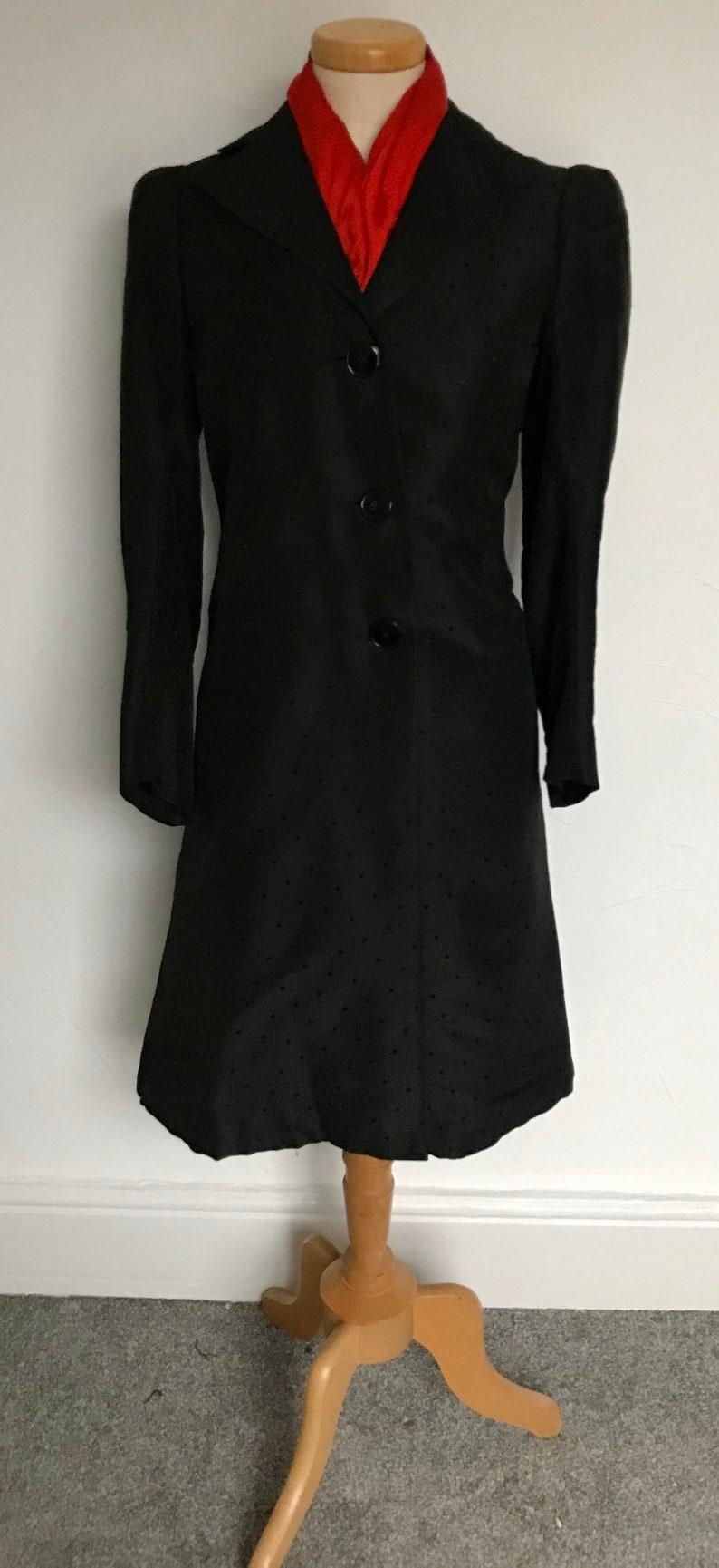 Stunning Vintage 1940s Princess Coat Dress Black Silk Brocade Unique 40s WW11 Unworn Pristine