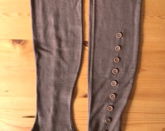 Rare 1800s Victorian Gaiters Over The Knee 12 Button Spats Leggings Shoe Boot Covers