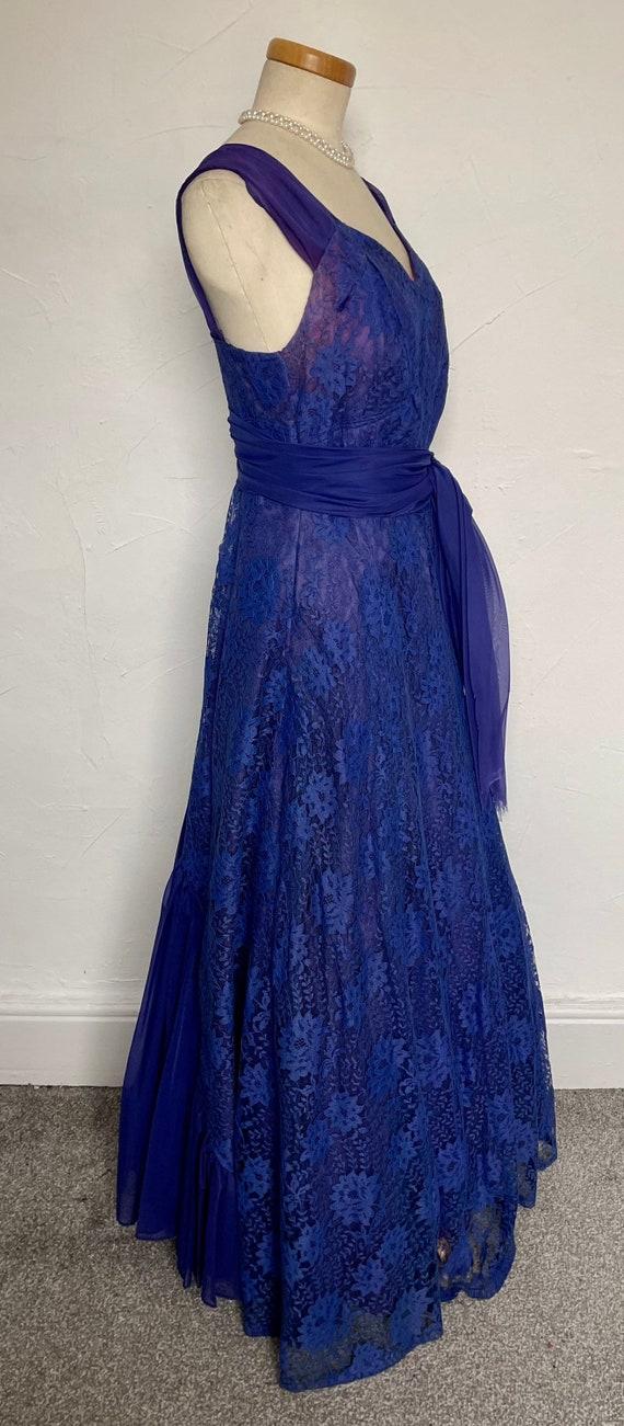 Vintage 40s Evening Gown Cocktail Dress Blue Silk… - image 9