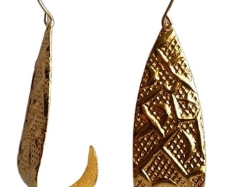Hand Crafted Gold Copper Coated Earring Jewellery Jewelry