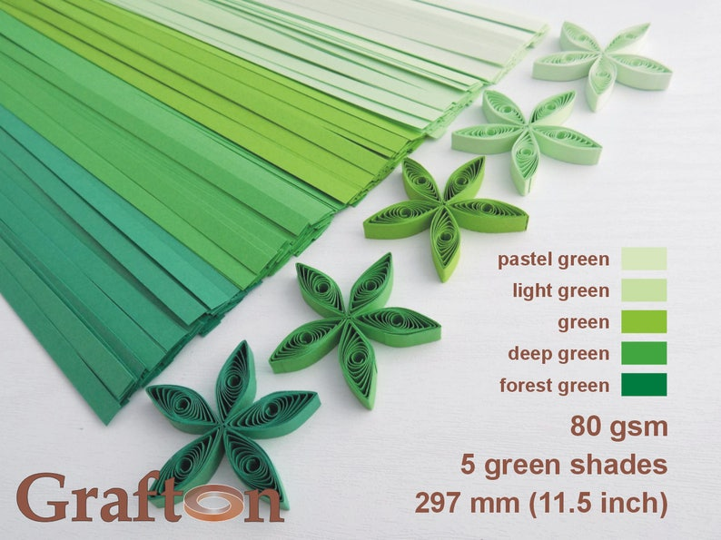 3mm  wide and 125 gsm 125 quilling paper strips in bright green