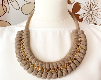 Cotton rope necklace made with lightweight soft cotton cord, and beads sewn by hand