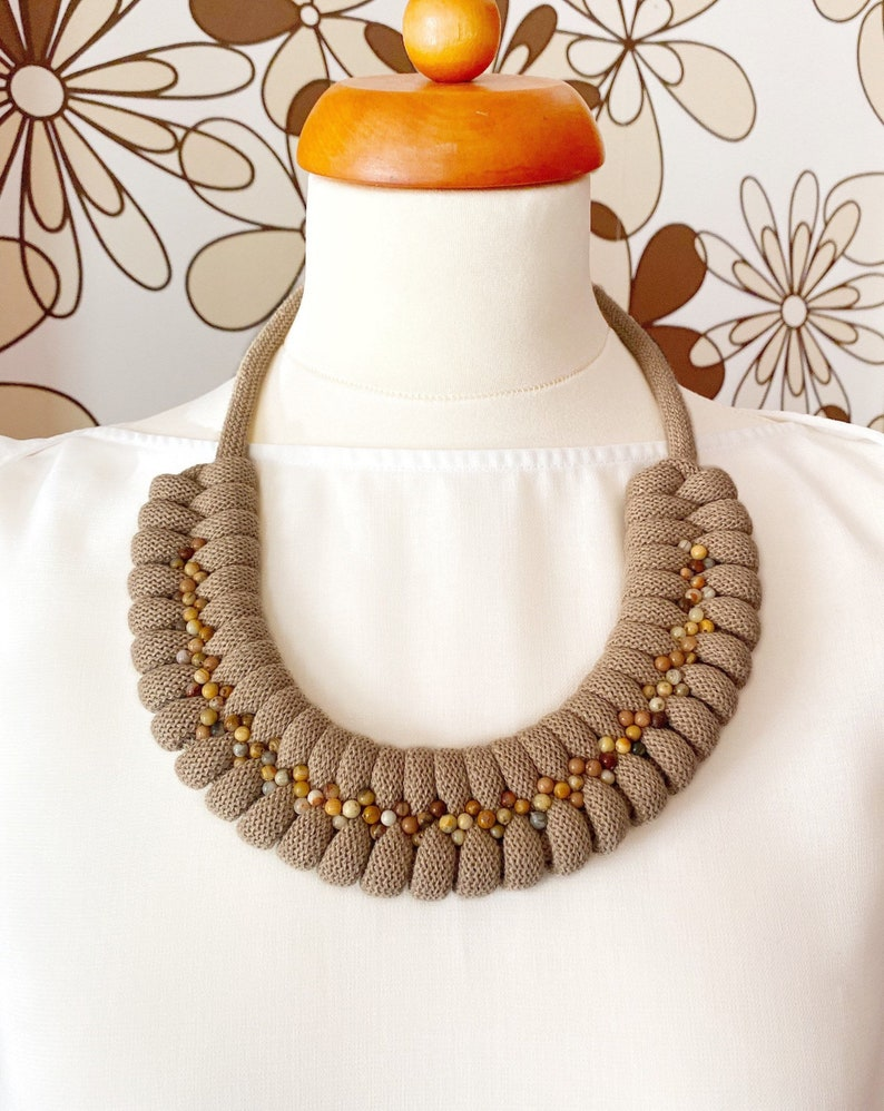 Cotton rope necklace made with lightweight soft cotton cord Beige