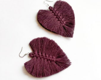 Cotton rope earrings made with lightweight, soft cotton cord