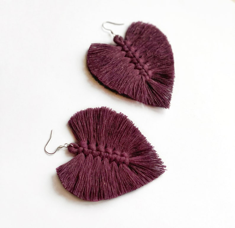 Cotton rope earrings made with lightweight soft cotton cord Blackberry