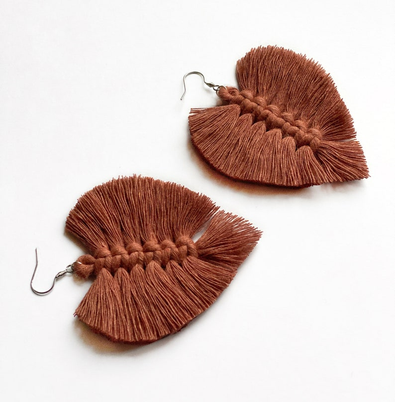 Cotton rope earrings made with lightweight soft cotton cord image 0