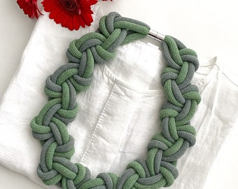 Rope necklace, statement necklace, two tone necklace, bib necklace, statement jewellery, textile necklace, necklace