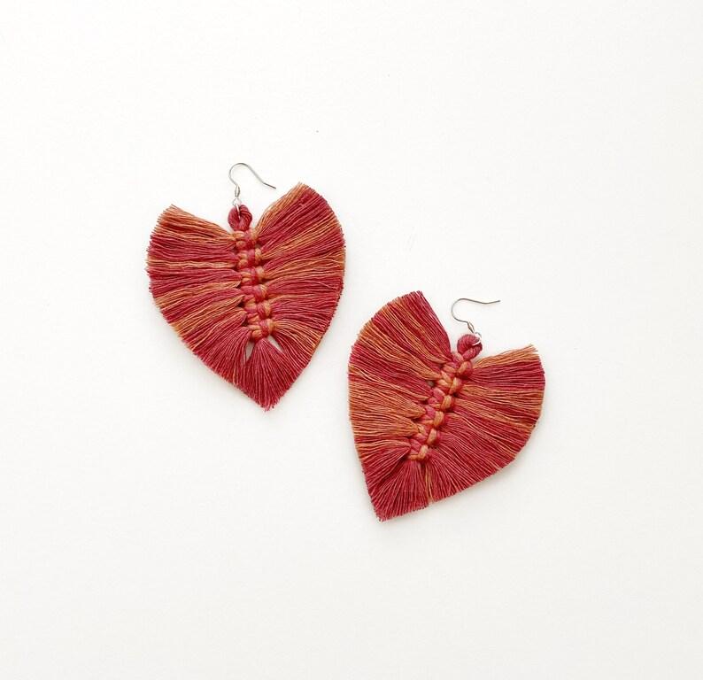Cotton rope earrings tassel earrings feather earrings image 0