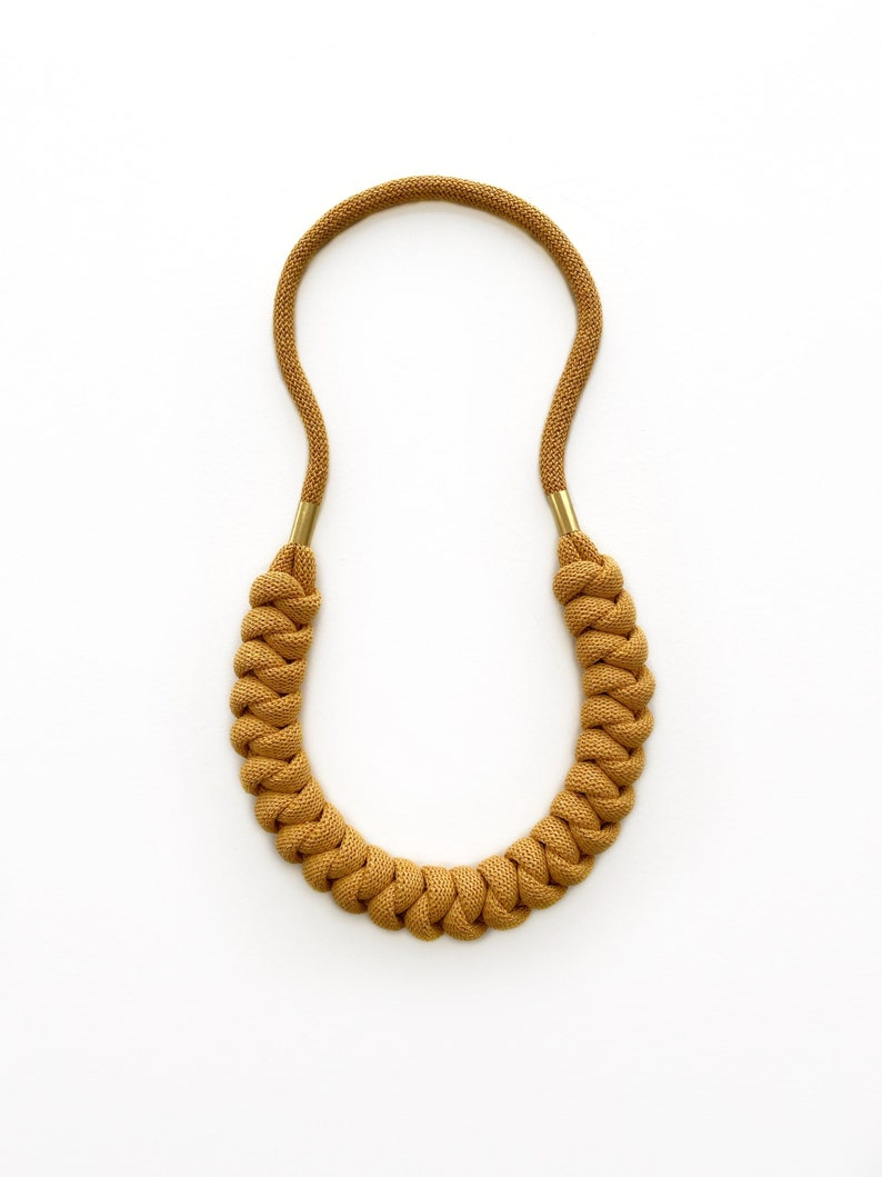 Cotton rope necklace made from lightweight soft cotton cord Mustard Yellow