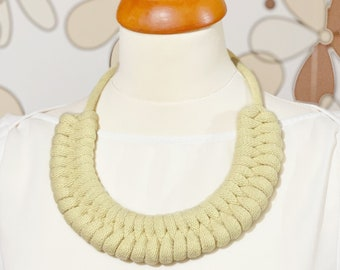 Cotton rope necklace made with lightweight, soft cotton cord