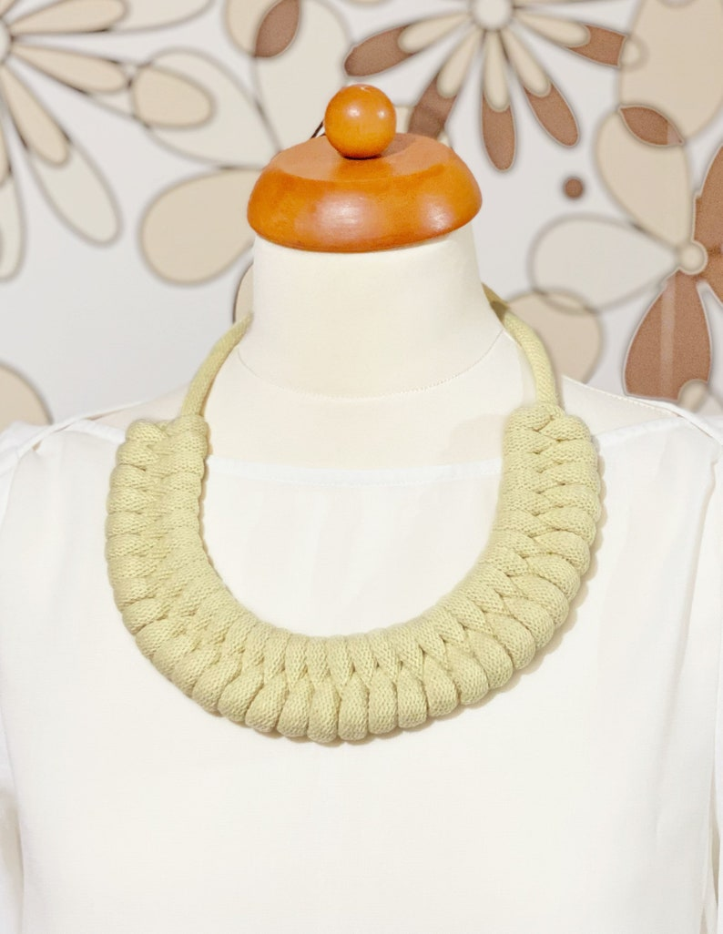 Cotton rope necklace made with lightweight soft cotton cord image 0