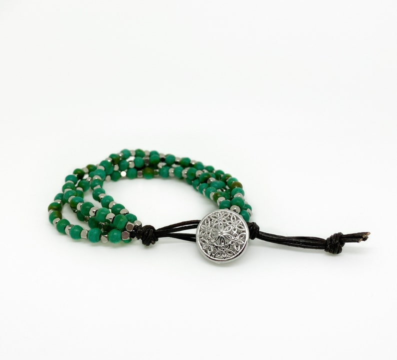 Beaded bracelet with gemstones and metallic beads image 0