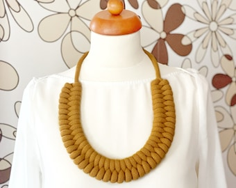 Large knotted necklace made from lightweight soft cotton cord, statement necklace, chunky necklace, bib necklace, costume jewellery