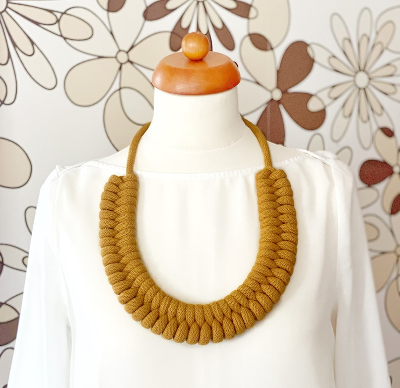 Large knotted necklace made from lightweight soft cotton cord Musard Yellow