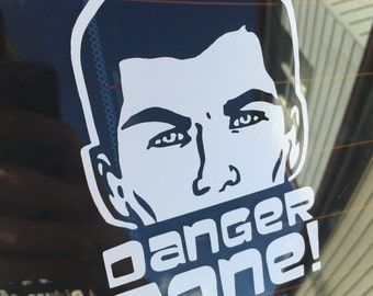 ARCHER DANGER ZONE - Car Decal - 5 inches tall by 3 inches wide - Funny Car Decal - Vinyl Car Decal - Easy to apply