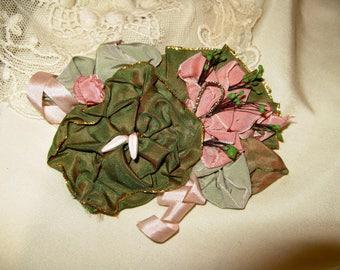Iridescent Ribbon Pin ~ Pinks & Greens, Hat Decor, Hair Pin