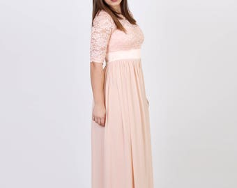 Handmade Charming Chiffon With Top Lace Bridesmaid RTW Dress, Blush Pink Evening Prom Dress