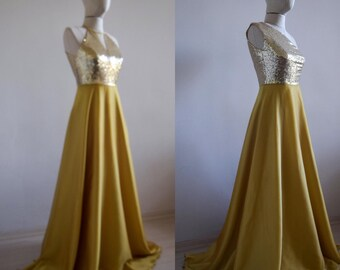 d4845bbf1eb Gorgeous Silk Georgette Chiffon With Top Sequin Gold Bridesmaid Dress
