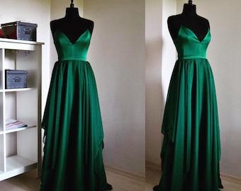 Velvet emerald green long sleeve dress forever 21