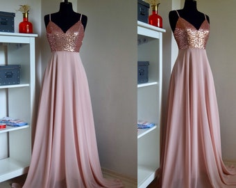 Charming Chiffon With Top Sequin Rose Gold Bridesmaid Dress Etsy,Classy African Dresses For Wedding Guests