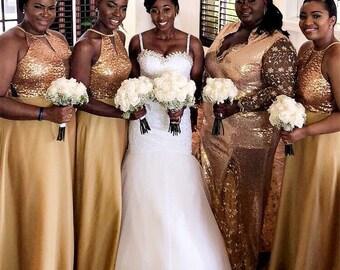 Gold bridesmaid dress | Etsy