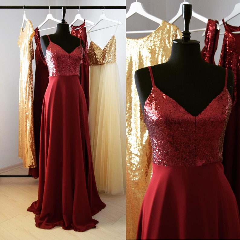 62f0ffe34cc Charming Chiffon With Top Sequin Burgundy Bridesmaid Dress