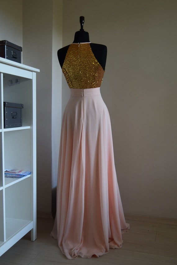 f7581b2104d Handmade Charming Chiffon With Top Gold Sequin Bridesmaid