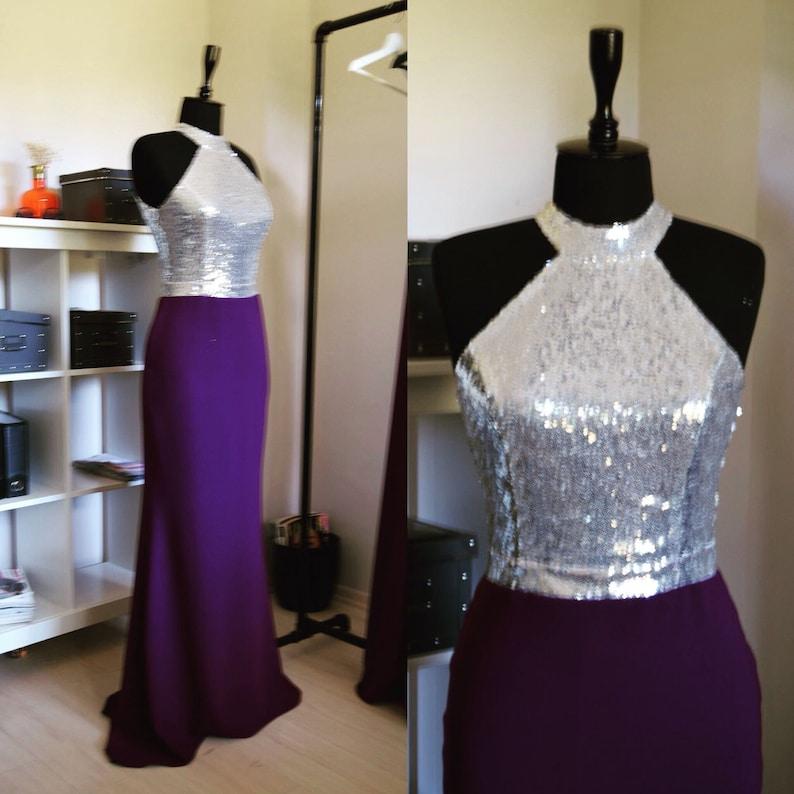 Handmade Silver Purple Sequin Mermaid Dress Sleeveless Purple Full Length Sequin Bridesmaid Dress Women Evening Mermaid Prom Dress