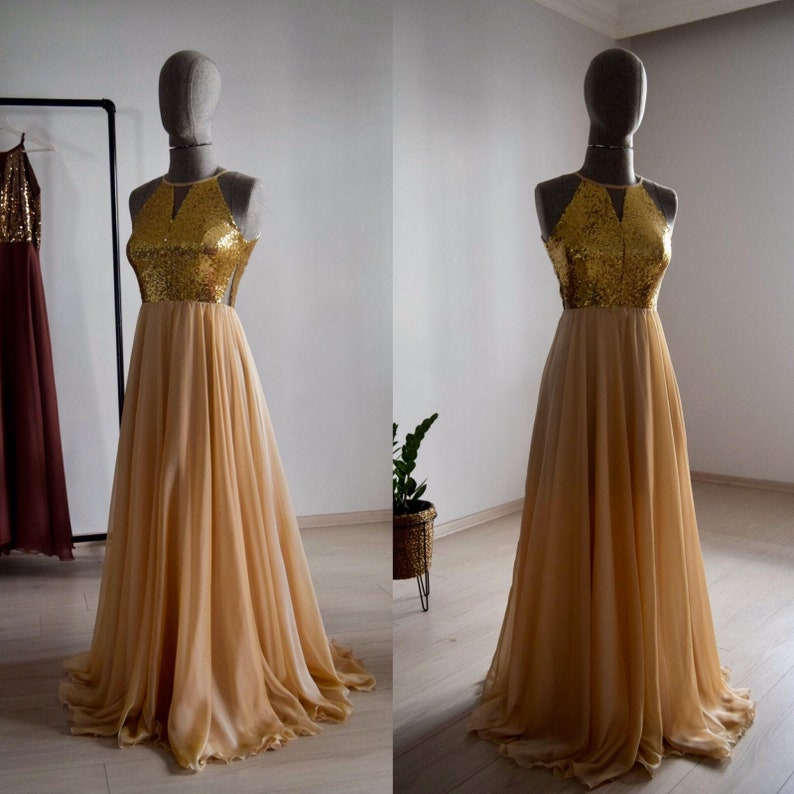 Wedding Party Dress Made To Measure Peach Chiffon With Top Sequin Gold Bridesmaid Dress Floor Length Sequin Evening Party Dress