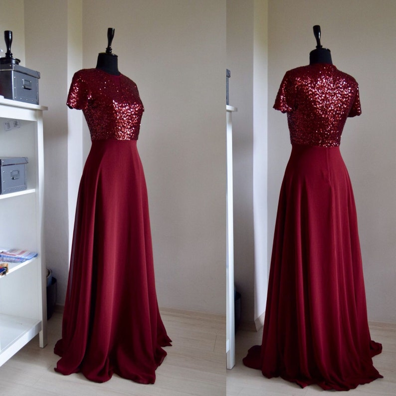 e1402475fd5d Handmade Chiffon With Top Sequin Bridesmaid Dress Burgundy   Etsy
