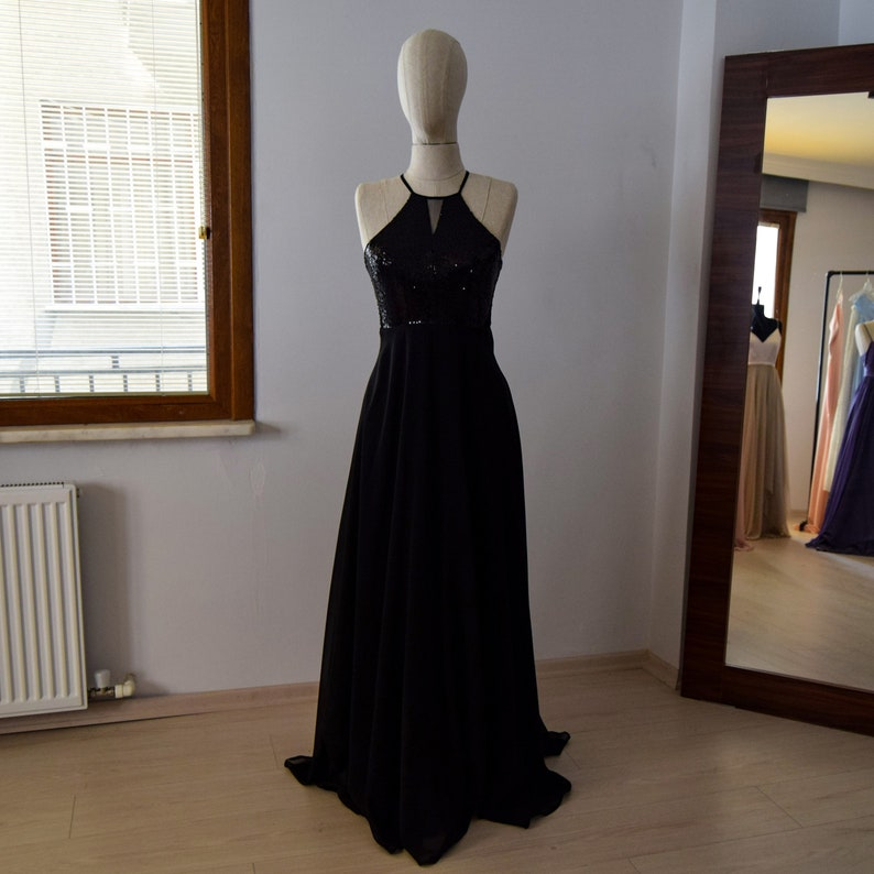 9ace87b9dd1 Charming Silk Chiffon With Top Sequin Black Bridesmaid Dress