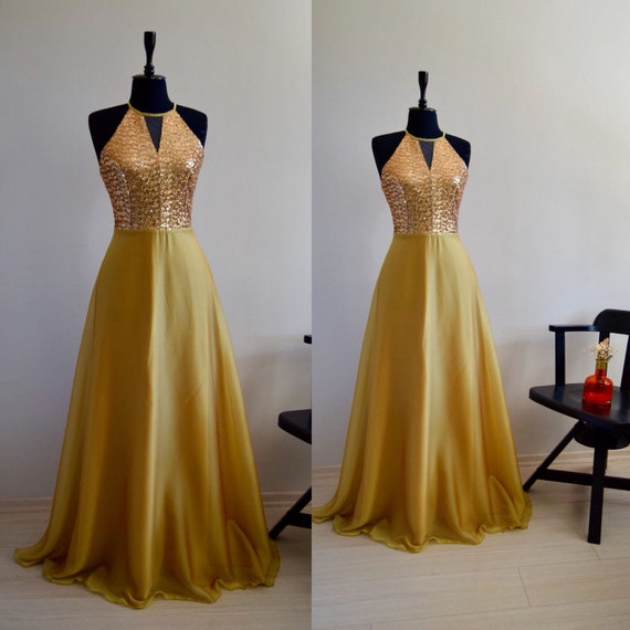 c86221c14d Gorgeous Silk Georgette Chiffon With Top Sequin Gold