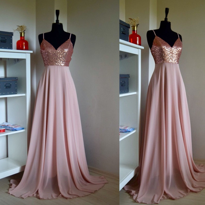 d2abb9dfab3 Charming Chiffon With Top Sequin Rose Gold Bridesmaid Dress